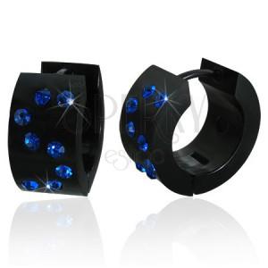 Fekete kerek fülbevaló akrillból - kék S monogram