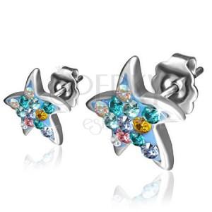 Sebészeti acél fülbevaló - csillag, szines cirkóniák