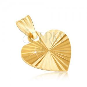 Medál 14K aranyból - lapos fényes szív sugaras hajtásokkal