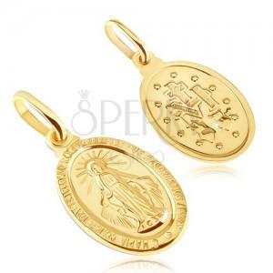 Medál 14K aranyból - ovális Szűz Mária medál