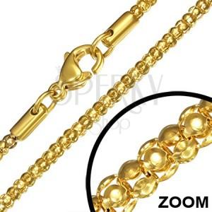 Sebészeti acél lánc, arany szín, kígyóminta