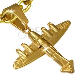 Acél függő - arany színű 3D repülőgép