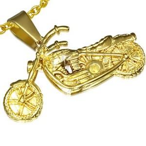 Acél medál arany színben, 3D-s motorbicikli