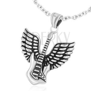 Medál sebészeti acélból, elektromos gitár szárnyakkal