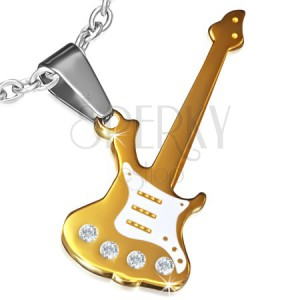 Arany színű acél medál, elektromos gitár cirkóniával díszített