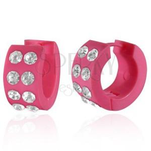 Akrill fülbevaló - kerek, rózsaszín és átlátszó cirkóniák