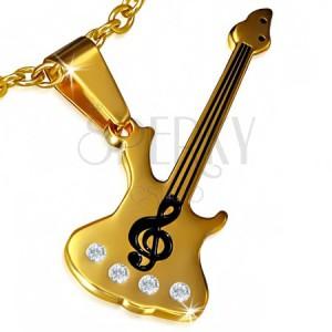 Acél medál - arany színű gitár, violinkulcs, átlátszó kövek