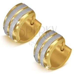 Arany színű acél fülbevaló ezüst színű sávokkal - kerek