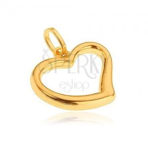 Medál 14K aranyból - szabálytalan nagy szívkörvonal