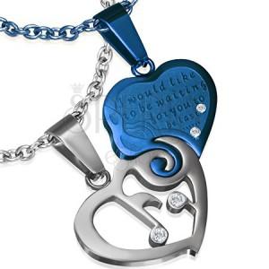 Kétrészes acél medál - ezüst színű és kék szivek
