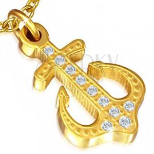 Acél medál - arany színű tengerész horgony, átlátszó cirkóniák