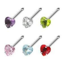 Orr piercing - színes, szív alakú cirkónia kő