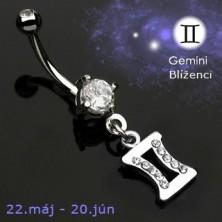Köldök piercing - Ikrek csillagjegy medál
