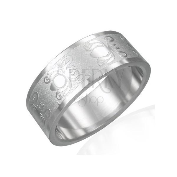 Gyűrű 316L acélból fényes-matt felülettel - bogár motívum, 8 mm