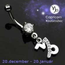 Köldök piercing - Bak csillagjegy medál