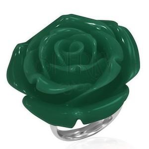 Sebészeti acél gyűrű - zöld rózsa, gyantakő