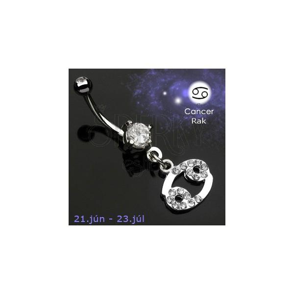 Köldök piercing csillagjegy medállal - Rák
