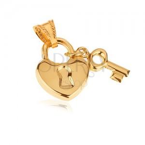 Arany medál - fényes szív tábla kulccsal