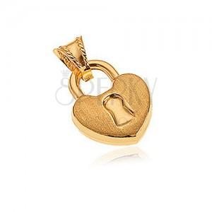 Medál 14K aranyból - szív alakú tábla, matt felszín