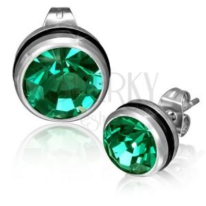 Kerek acél fülbevaló zöld cirkóniával
