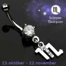 Köldök piercing - Skorpió csillagjegy medál