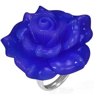 Fényes acél gyűrű - kék rózsa gyantakőből