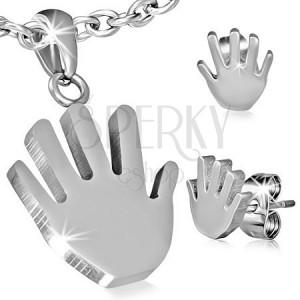 Sebészeti acél szett - medál és fülbevaló, kéz