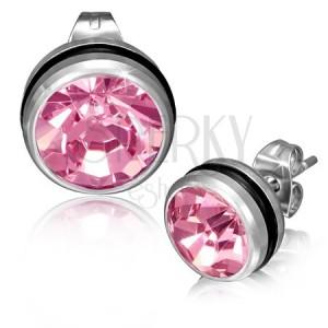 Acél fülbevaló - kerek, rózsaszín cirkónia