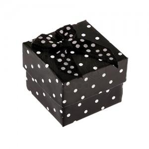 Fekete pöttyös dobozka gyűrűre, masni