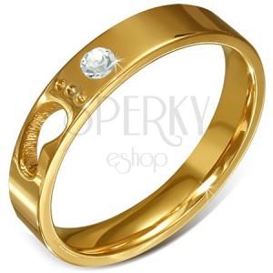 55119719f Acél gyűrű arany színben - átlátszó cirkónia, gyerek lábacska ...