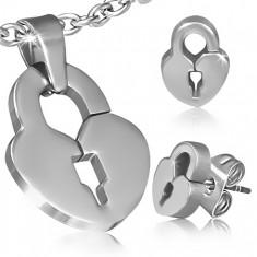 Sebészeti acél szett - medál és fülbevaló, szív alakú lakat