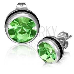 Acél fülbevaló kerek zöld cirkóniával