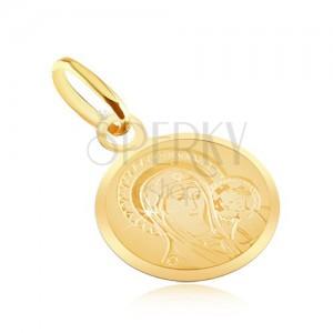 Arany lapos medál - kerek tábla Madonnával és a gyermekkel