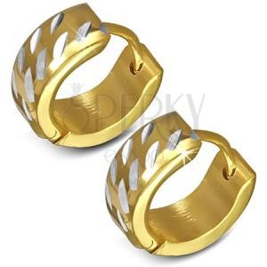 Sebészeti acél fülbevaló - kerek, arany és ezüst színű bevágások