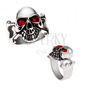 Fényes acél gyűrű - ezüst színű koponya piros szemekkel
