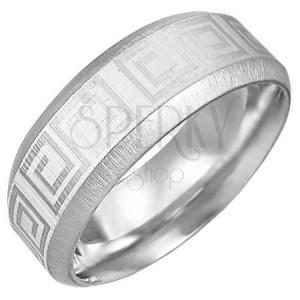 Acél gyűrű görög kulcs mintával, lemetszett szélek