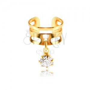 Hamis piercing fülbe fémből - karika arany színben, átlátszó cirkónia