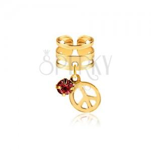 Fém fake piercing fülbe, három sáv, rózsaszín cirkónia, béke jel