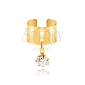 Hamis fülpiercing fémből - arany színű karika, átlátszó cirkónia