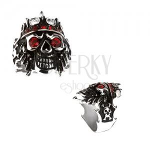 Gyűrű 316L acélból - koponya koronával, piros cirkóniák