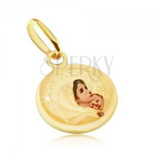 Arany medál - kerek tábla, Szűz Mária, átlátszó fénymáz