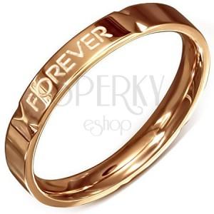 """Aranyrózsaszín gyűrű - acél, """"Forever Love"""""""