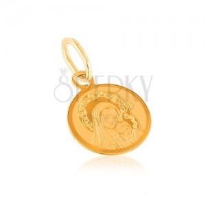 Medál 14K aranyból - kerek függő, gravírozott Szűzanya gyermekkel