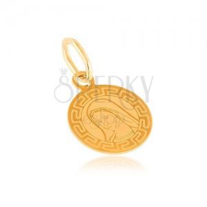 Arany medál - lapos tábla, kerek, Szűz Mária, görög minta