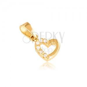 Medál 14K sárga aranyból - szabályos szívkörvonal, cirkóniák