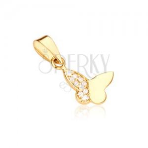 Medál 14 K aranyból - lepke egy sima szárnnyal és cirkóniákkal