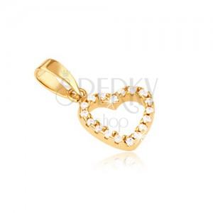 Arany medál - szabályos szívkörvonal kerek átlátszó kövekkel