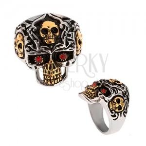 Gyűrű 316L acélból, arany-ezüst színű koponya, piros kő