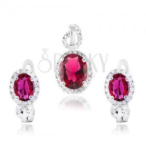 Ezüst szett - fülbevaló és medál, piros ovális, átlátszó kövek