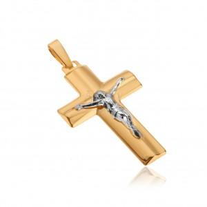 Medál 14K sárga aranyból - Krisztus a kereszten, széles lemetszett szárak